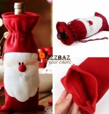 Red Santa Wine Bottle Set Cover Bag Christmas Dinner Xmas Table Decor