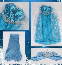 Elsa Princess Ice Queen Girls Party Dress +TIARA Size 5-6 years