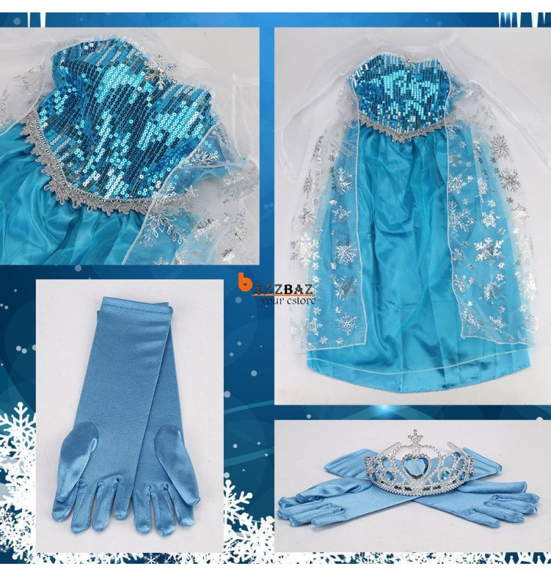 Elsa Princess Ice Queen Girls Party Dress Tiara Size 3 10 Years