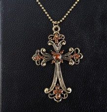 Bronze Cross Crucifix Crystal Rhinestone Flower Long Chain