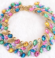 rainbow multi color mixed crystal necklace