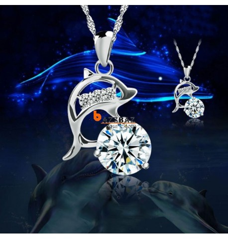 Dolphins Silver Rhinestone Necklace