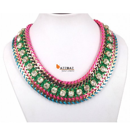 beautiful colorful Rainbow Rope Crystal Necklace