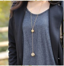 Double Balls Hollow Long Necklace