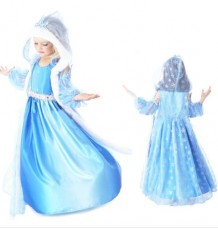 Elsa Dress with  Hooded Cape & Sleeves & Tiara