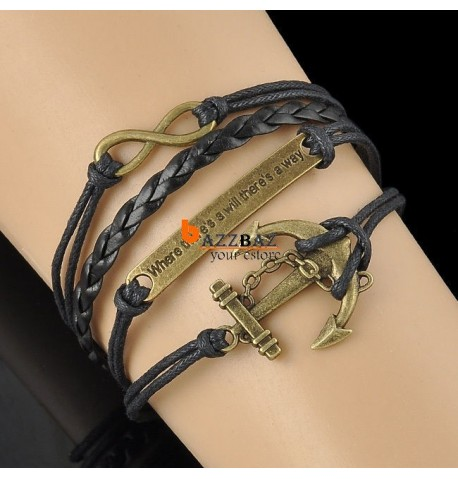 Charming Vintage Leather rope Anchor Infinity  Bracelet