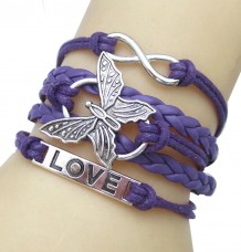 Purple Vintage Butterfly Love Design Bracelet