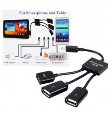 3 in 1 Male to Female Dual Micro USB OTG Hub