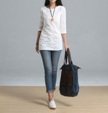 White Handmade Summer Embroidery Female Loose shirt 3/4 Sleeve Blouse