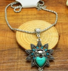 Tibet silver natural turquoise owl necklace