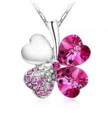 Silver Women Happiness Clover Leaf Crystal Pendant
