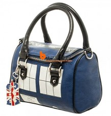 dr who tardis mini satchel with metal charm purse