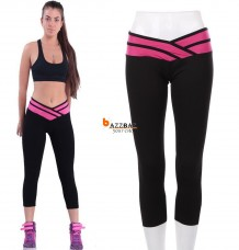 Sport Athletic Gym Workout Fitness Yoga Waistband Capri Leggings Pants
