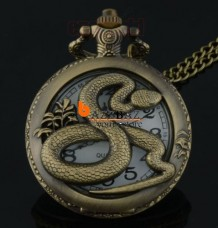 Bronze Animals Pattern Quartz Pocket Watch Chain