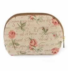 Cosmetic Bag / Makeup Bag Canvas Pink Rose Motif/ Valentine send loving roses and kisses