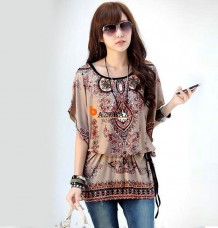 Summer Short Sleeve Blouse Boho Casual