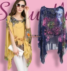 Summer Sexy Batwing Sleeve Loose Chiffon Floral Print T-shirt Blouse