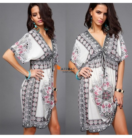Hot Summer Casual Sexy Deep V-Neck Dress High-Waist