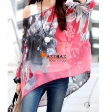 Bohemia Casual Pullover Batwing Sleeve Flower Pattern Top Shirt Blouse