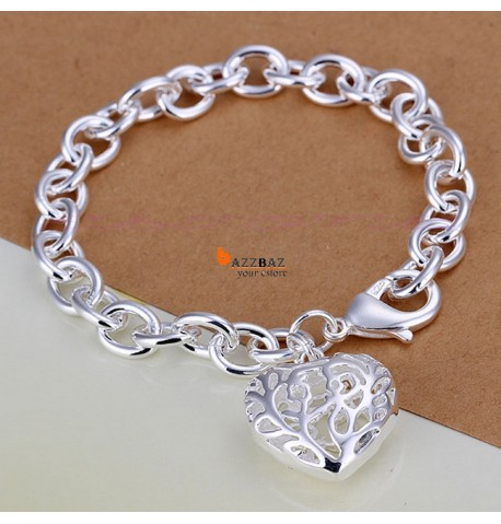 925 Sterling Silver Plated Rough Heart Pendant Bracelet