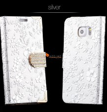 CHROME FLOWER RHINESTONE Cover + Screen Protector Flip Case Wallet Purse (IPhone 6+)
