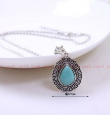Y01 Christmas Tibet silver inlaid natural turquoise girl& women necklace pendant