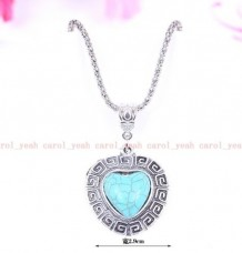 new Christmas Tibet silver inlaid natural turquoise girl& heart necklace pendant