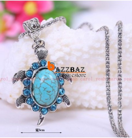 Christmas Tibet silver inlaid natural turquoise tortoise necklace pendant