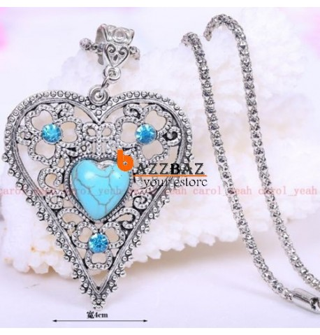 Christmas!Tibet silver inlaid natural turquoise Big heart necklace pendant