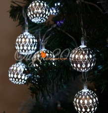 Moroccan Metal Solar Battery Powered Xmas String Light LED