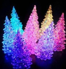 LED Lamp Light Crystal Tree Shape Colorful Decor Xmas