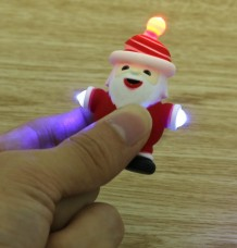 Cute LED Light Sounding Santa Claus Shape Plastic Key Chain Ring