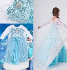 Elsa Girls Party Fancy Dress Queen Princess Costume