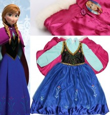 Anna Girls Party Fancy Dress Queen Princess Costume For Ages 6-7Years (XL)